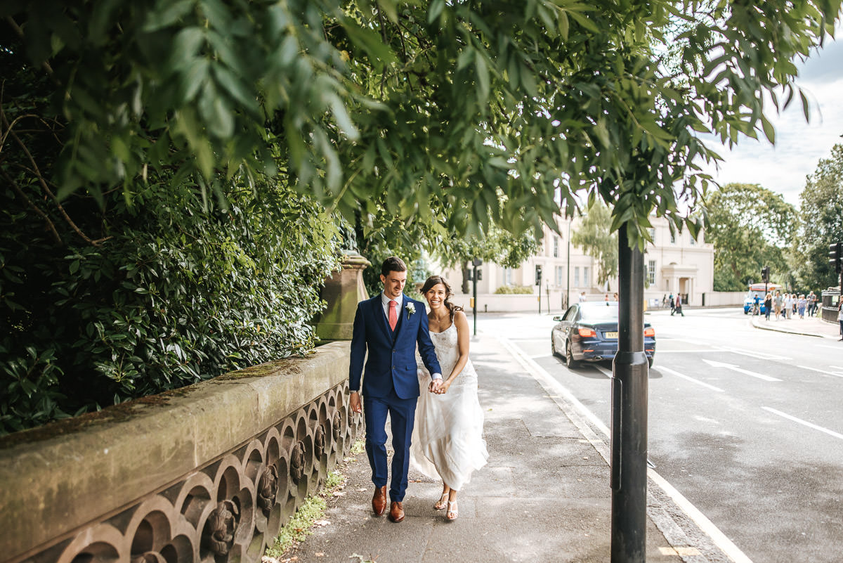 regents park london wedding couple shots