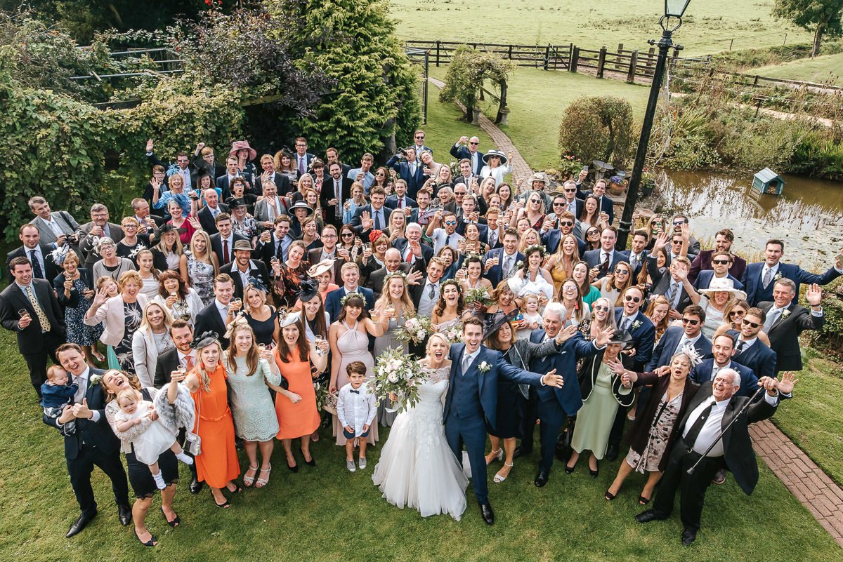 group shot by lincolnshire wedding photographer