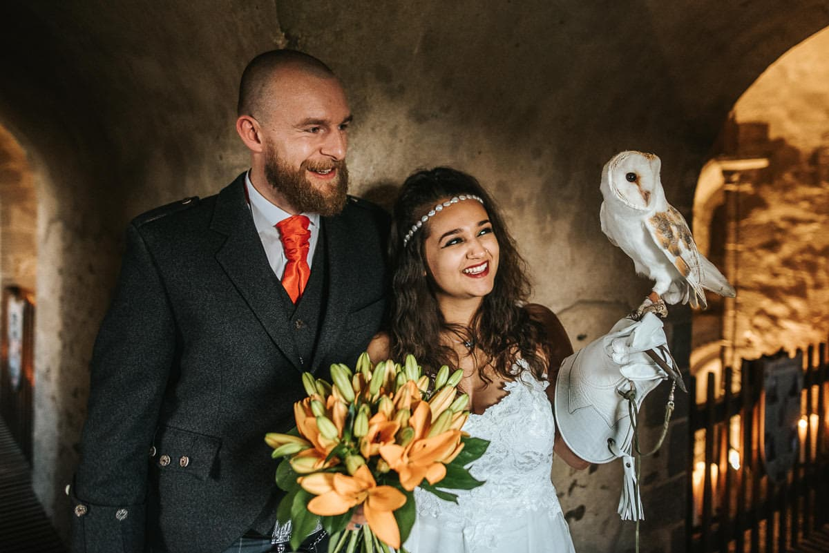 hedingham castle wedding with birds of prey display