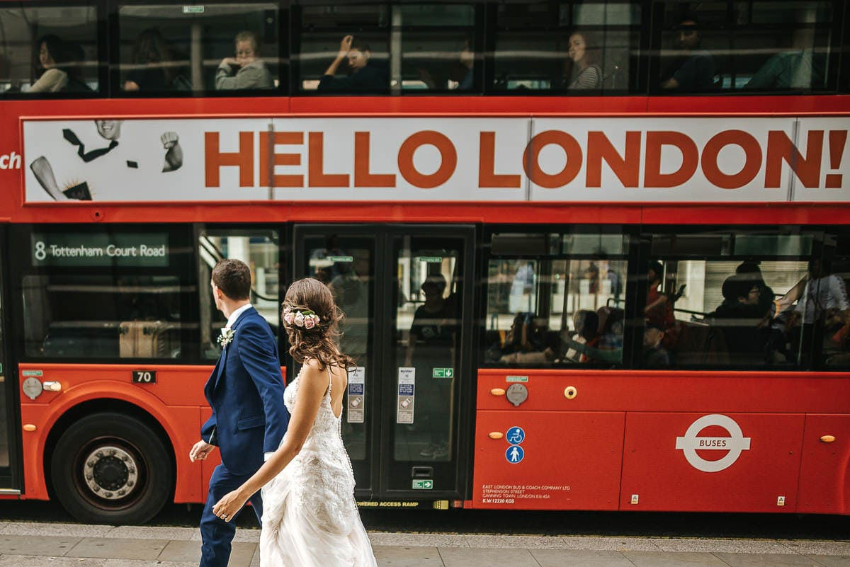 wedding couple london bus