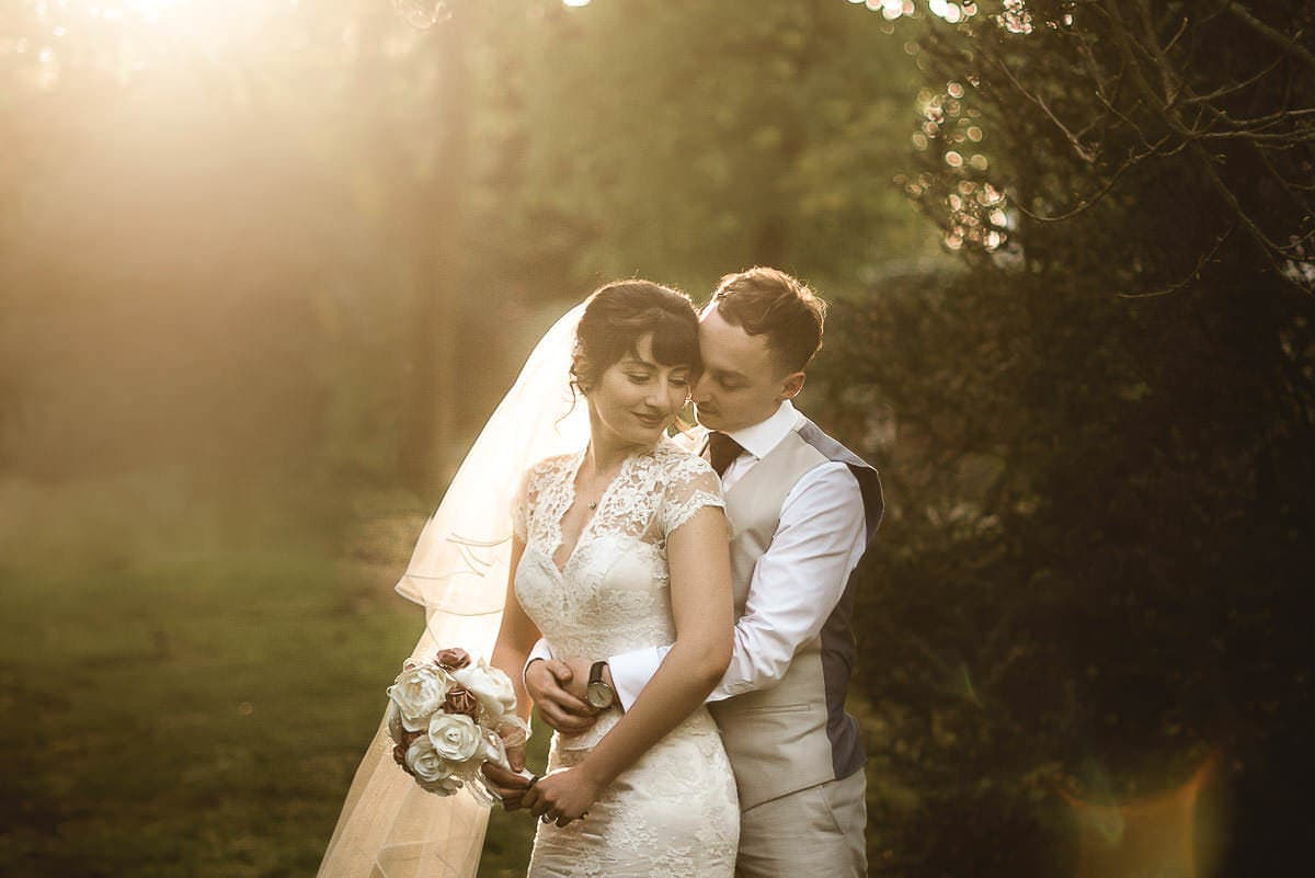 newlyweds in golden light