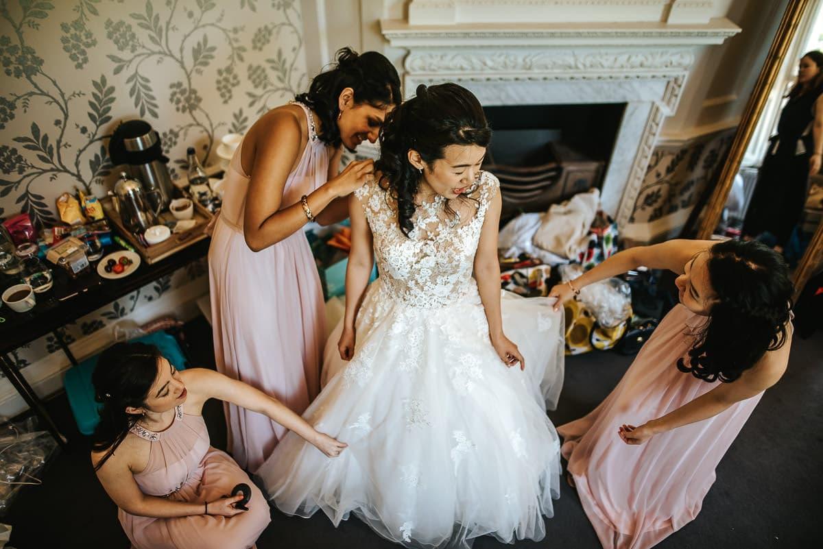 final checkup of the wedding dress at morden hall