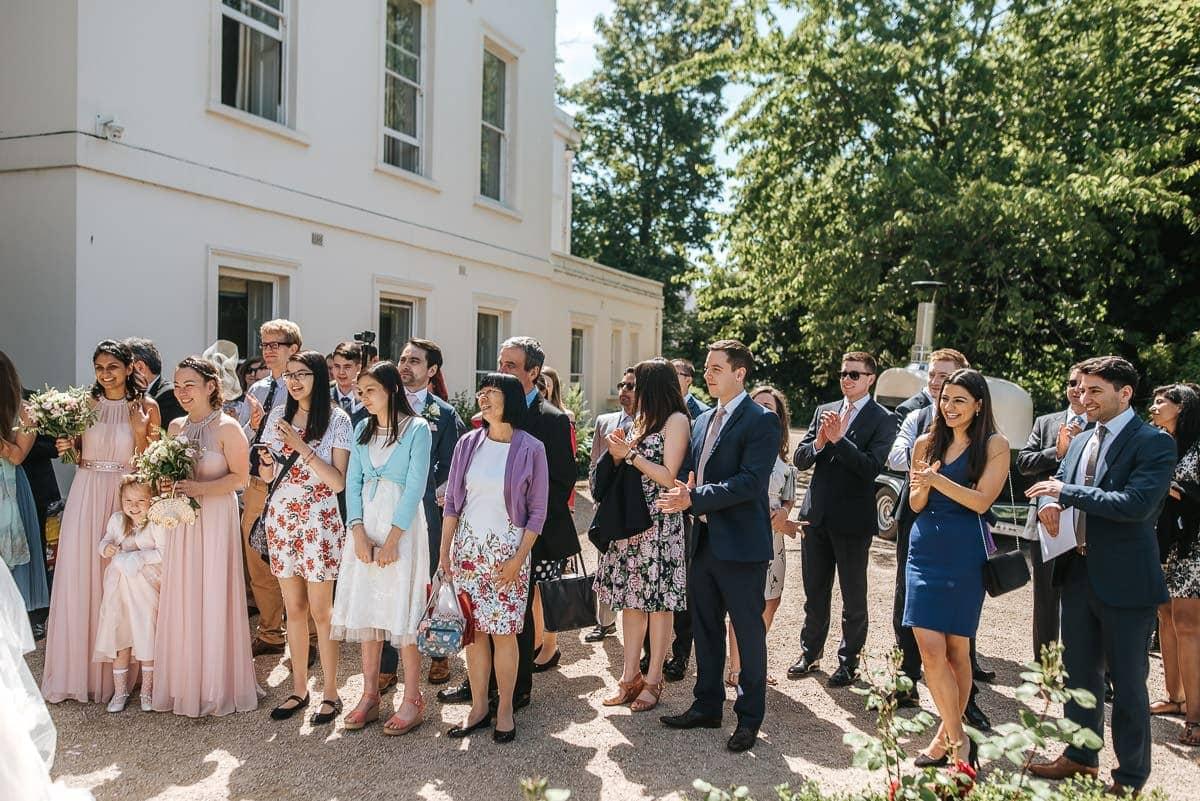 guests at morden hall wedding