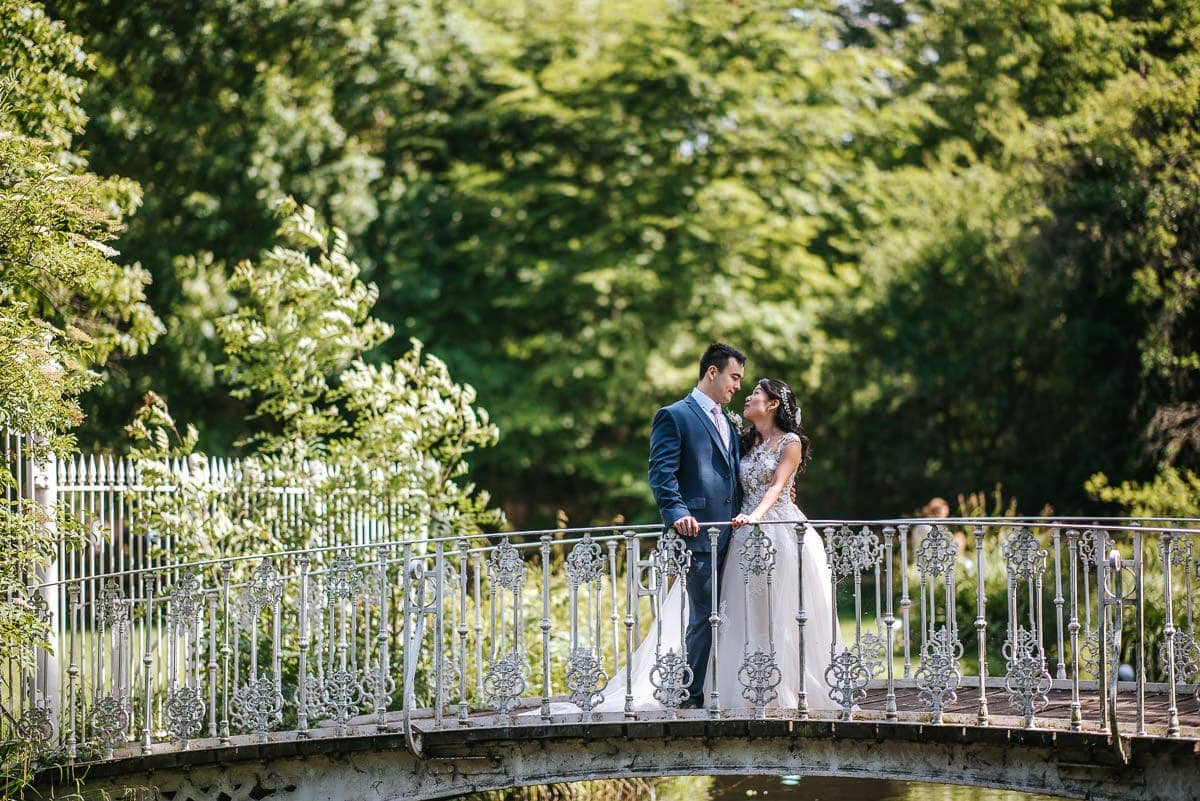 morden hall couple on the bridge