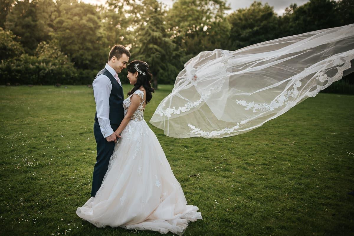 morden hall wedding veil flying away