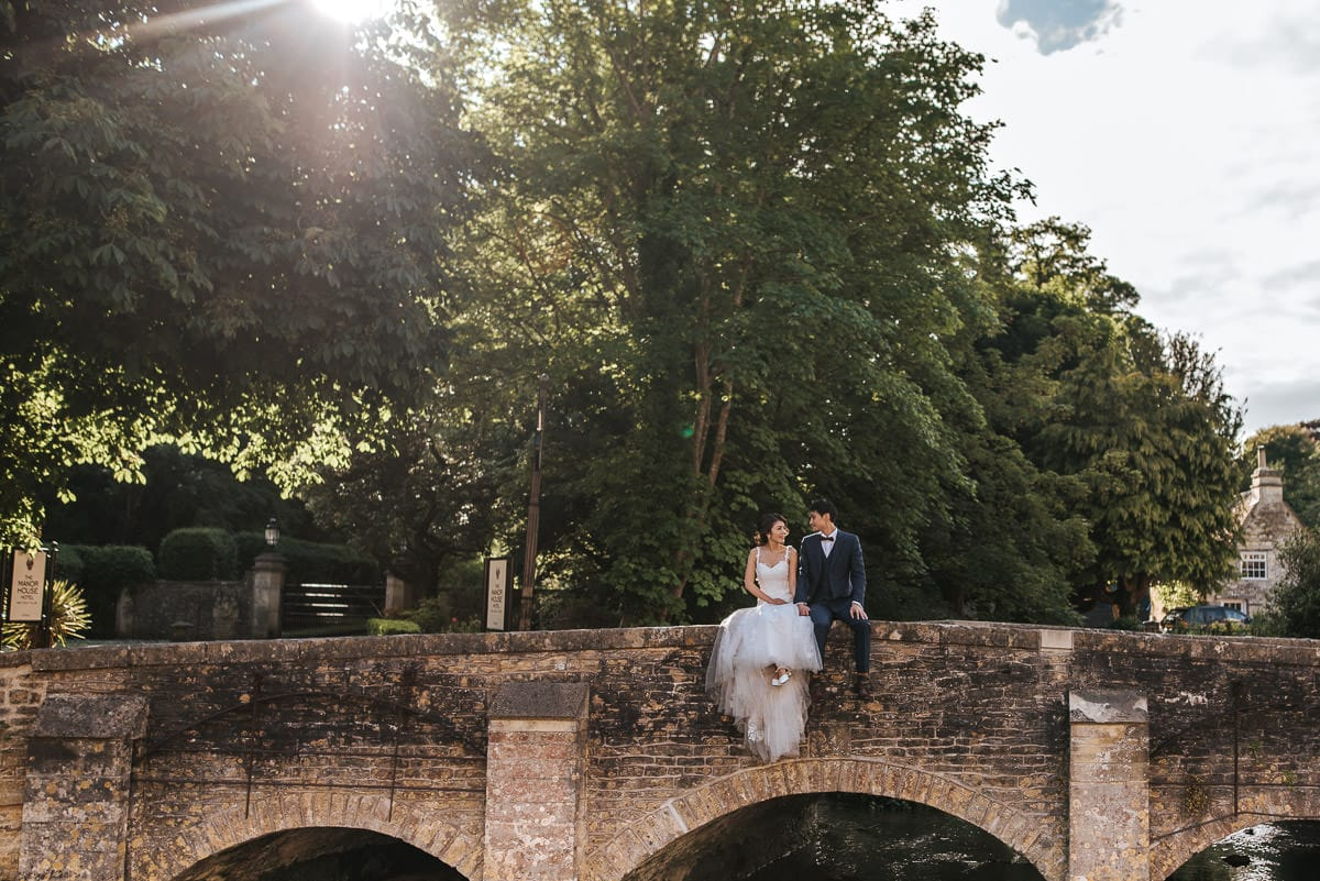 chinese wedding couple at castle combe
