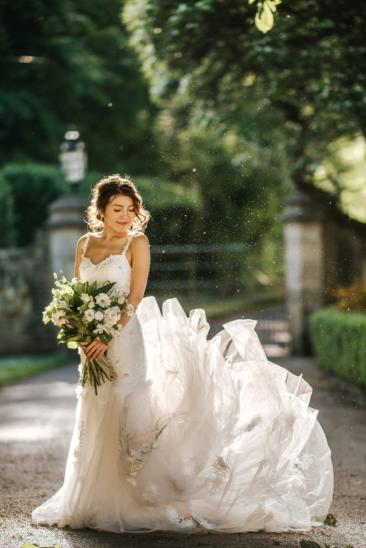 bride at castle combe