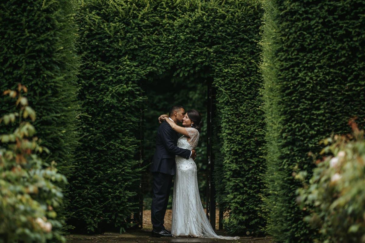 tipi wedding berkshire bride and groom hugging