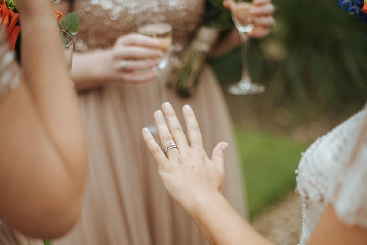 tipi wedding berkshire bride showing the ring