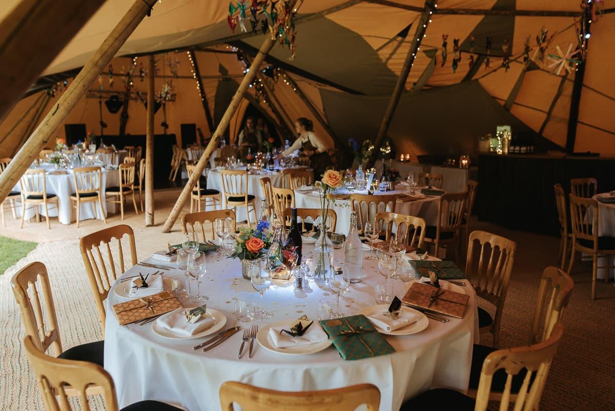 tipi wedding berkshire table setup