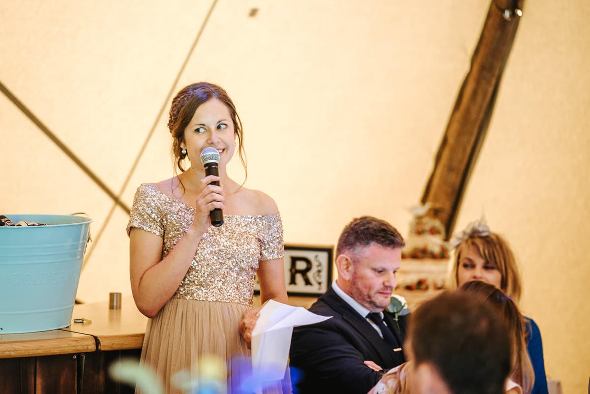 tipi wedding berkshire speeches