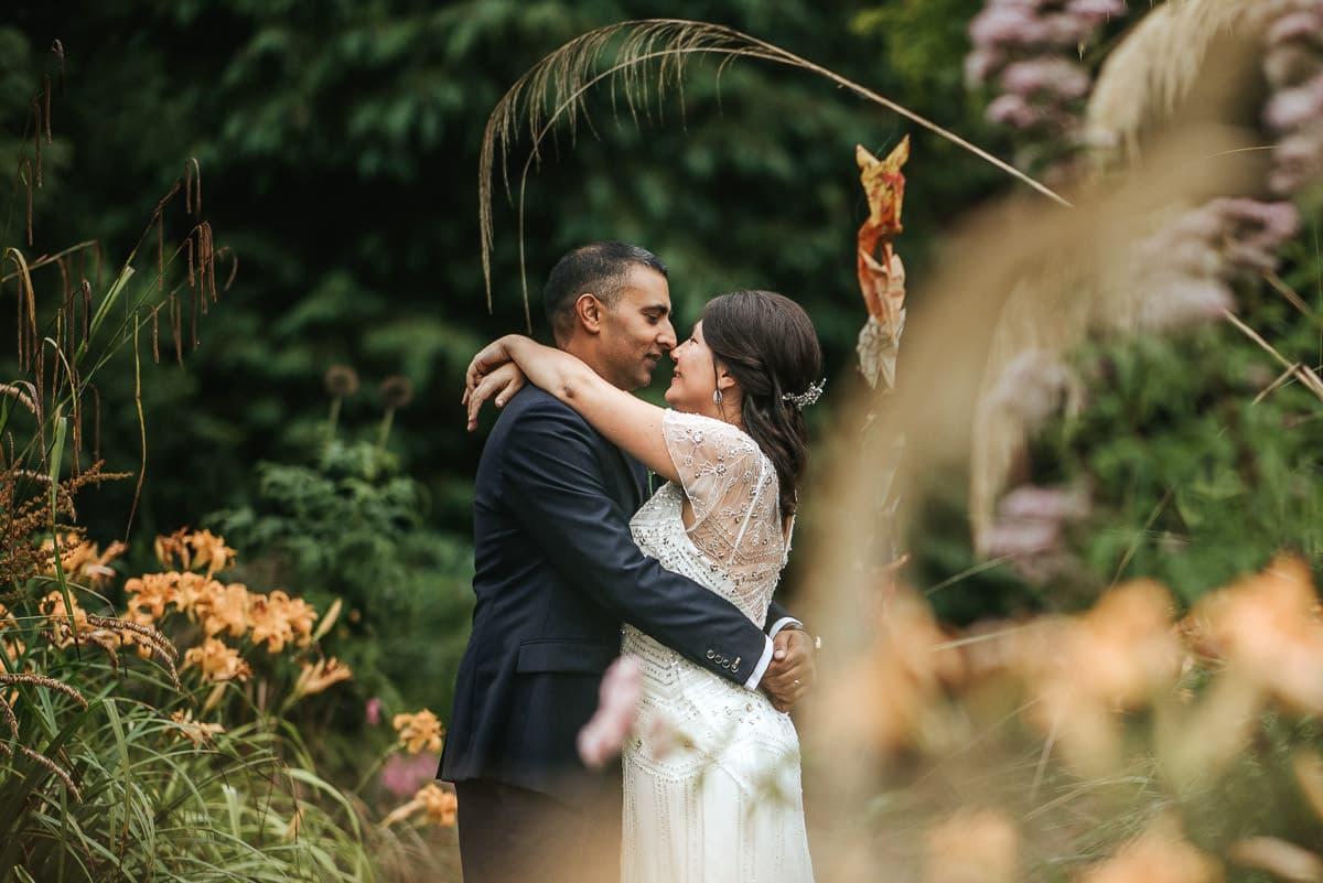tipi wedding berkshire bride and groom in the garden