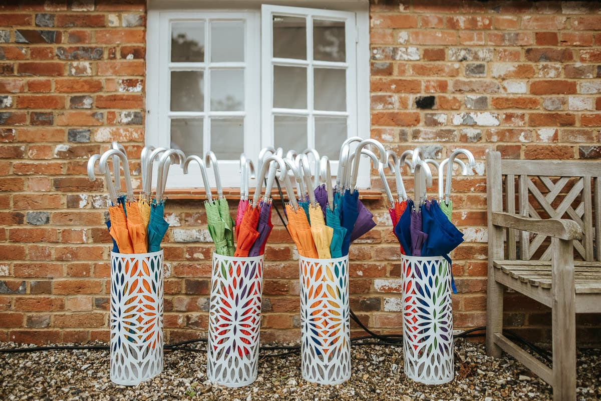 secret walled garden berkshire wedding umbrellas