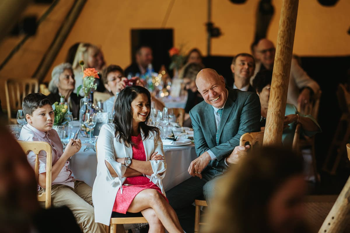 tipi wedding berkshire guests laughing