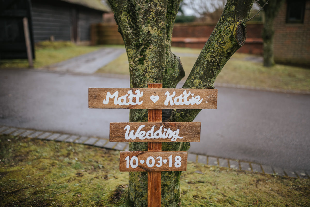 norton park wedding name board
