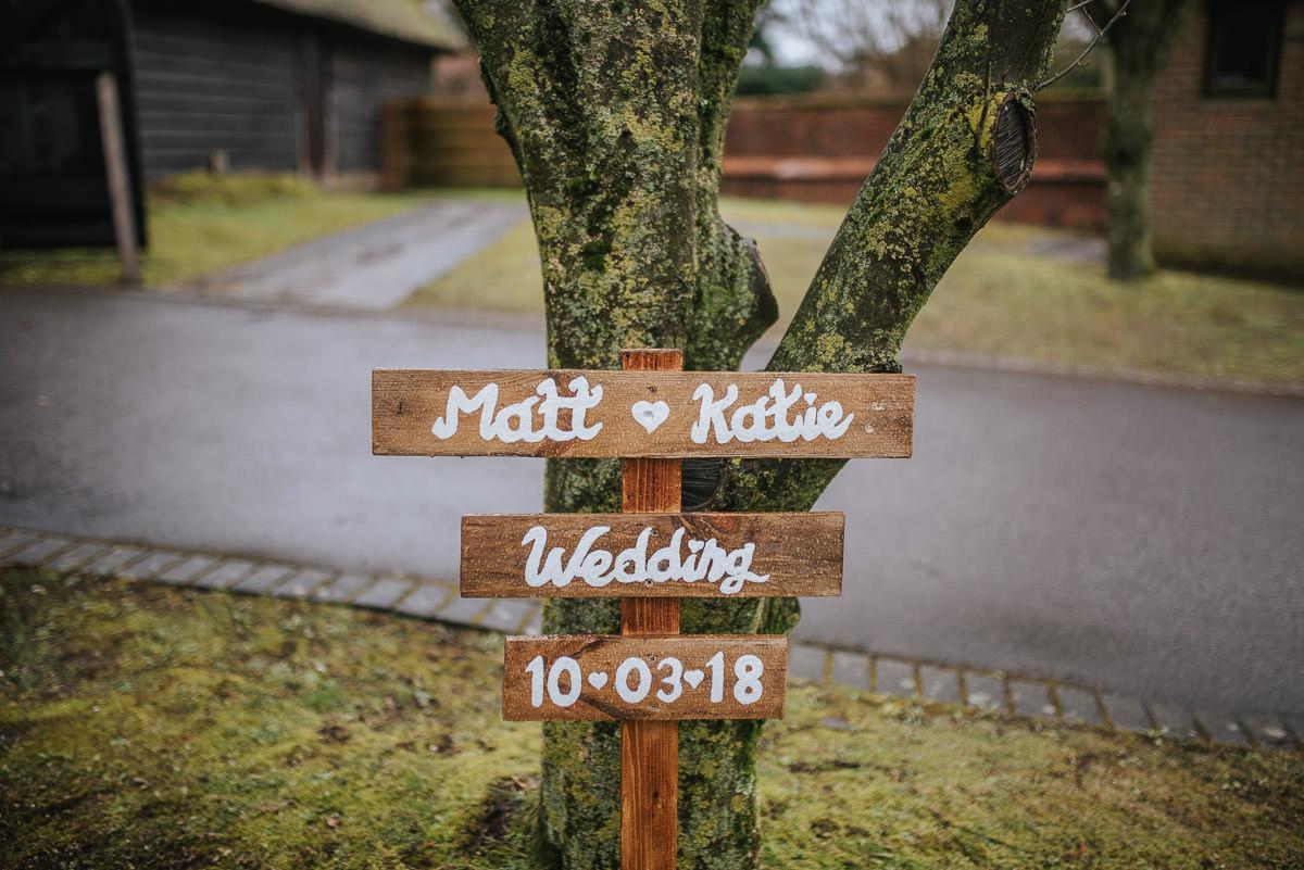 norton park wedding name board