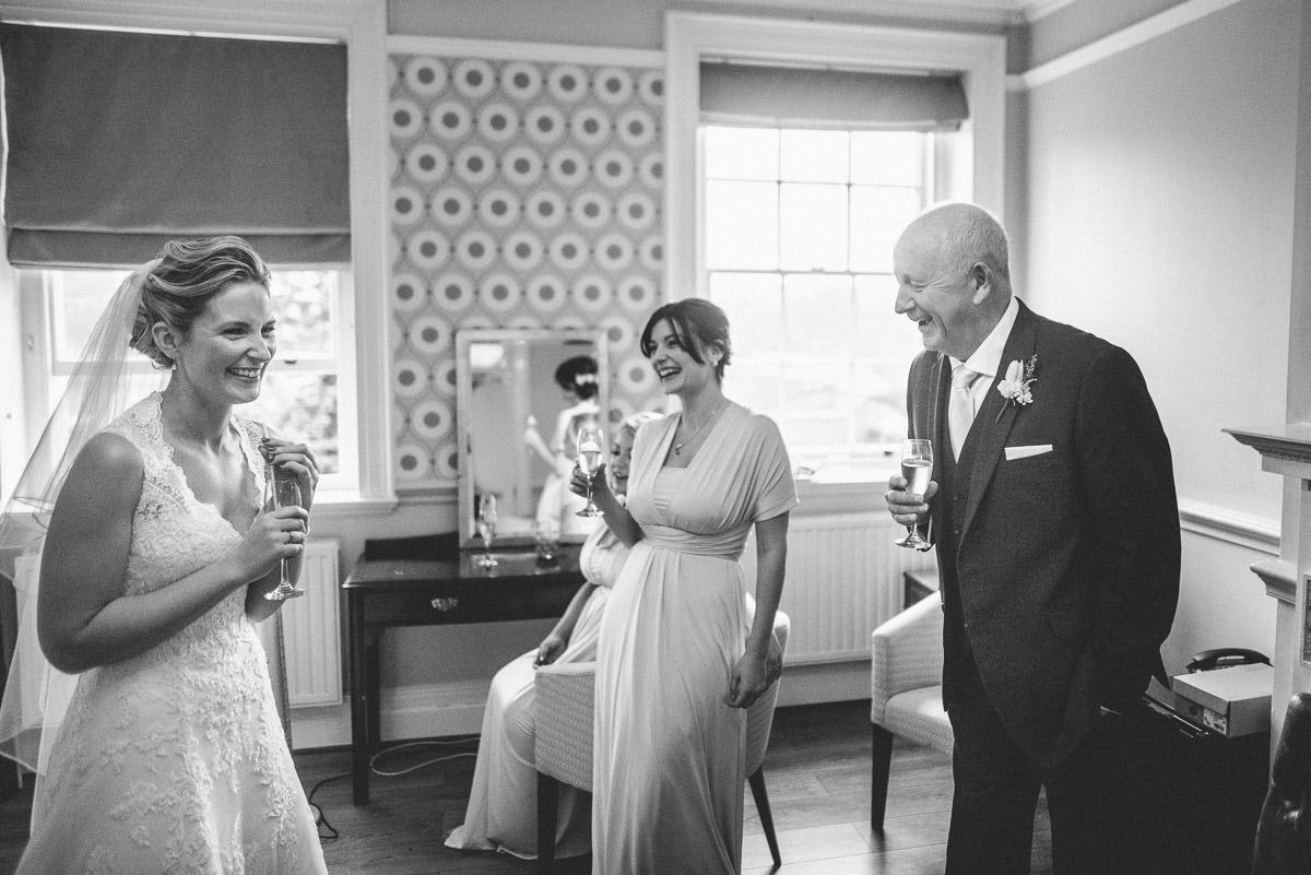 norton park wedding getting ready champagne
