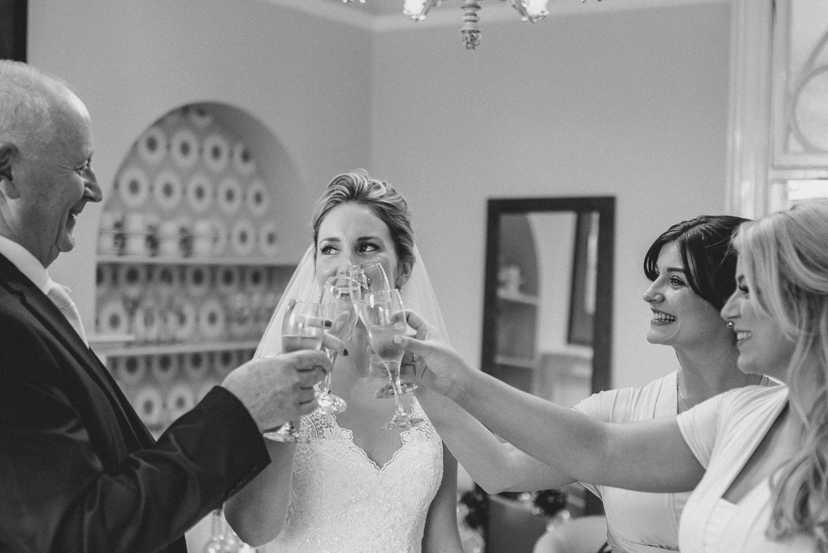 norton park wedding getting ready cheers