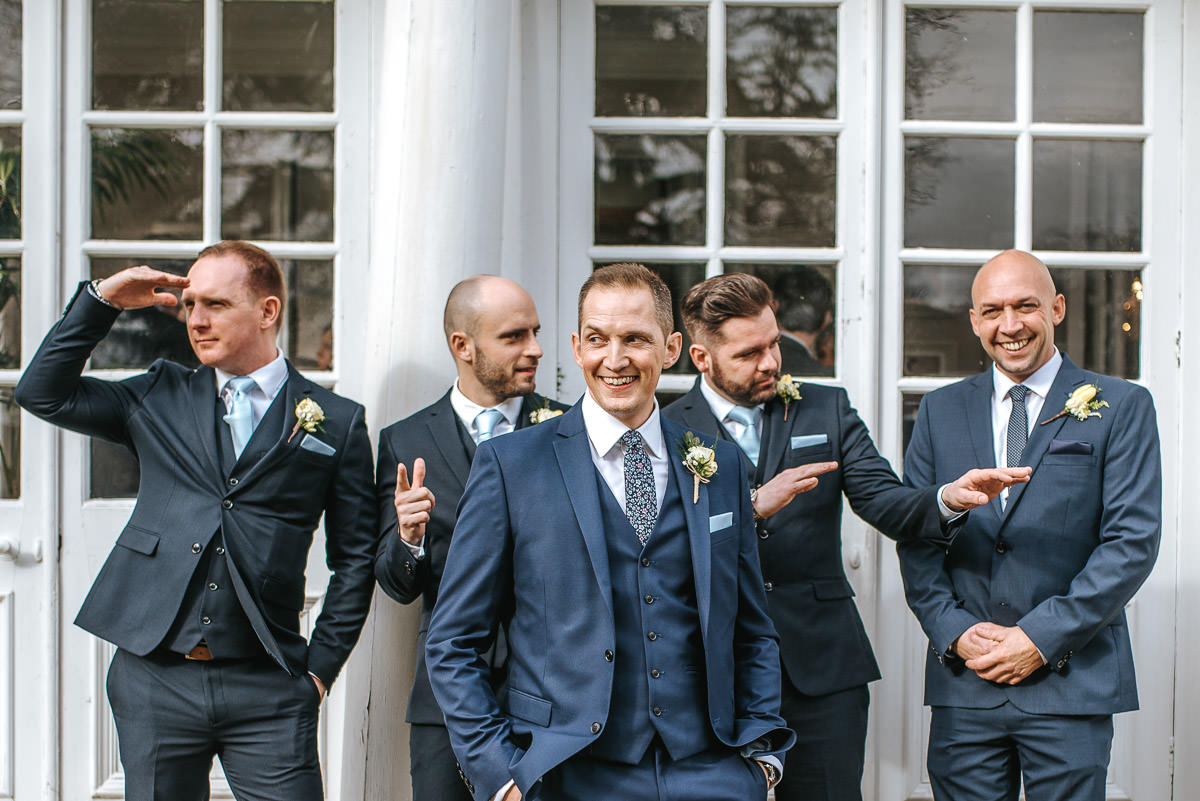 norton park wedding drinks reception groom snd groomsmen