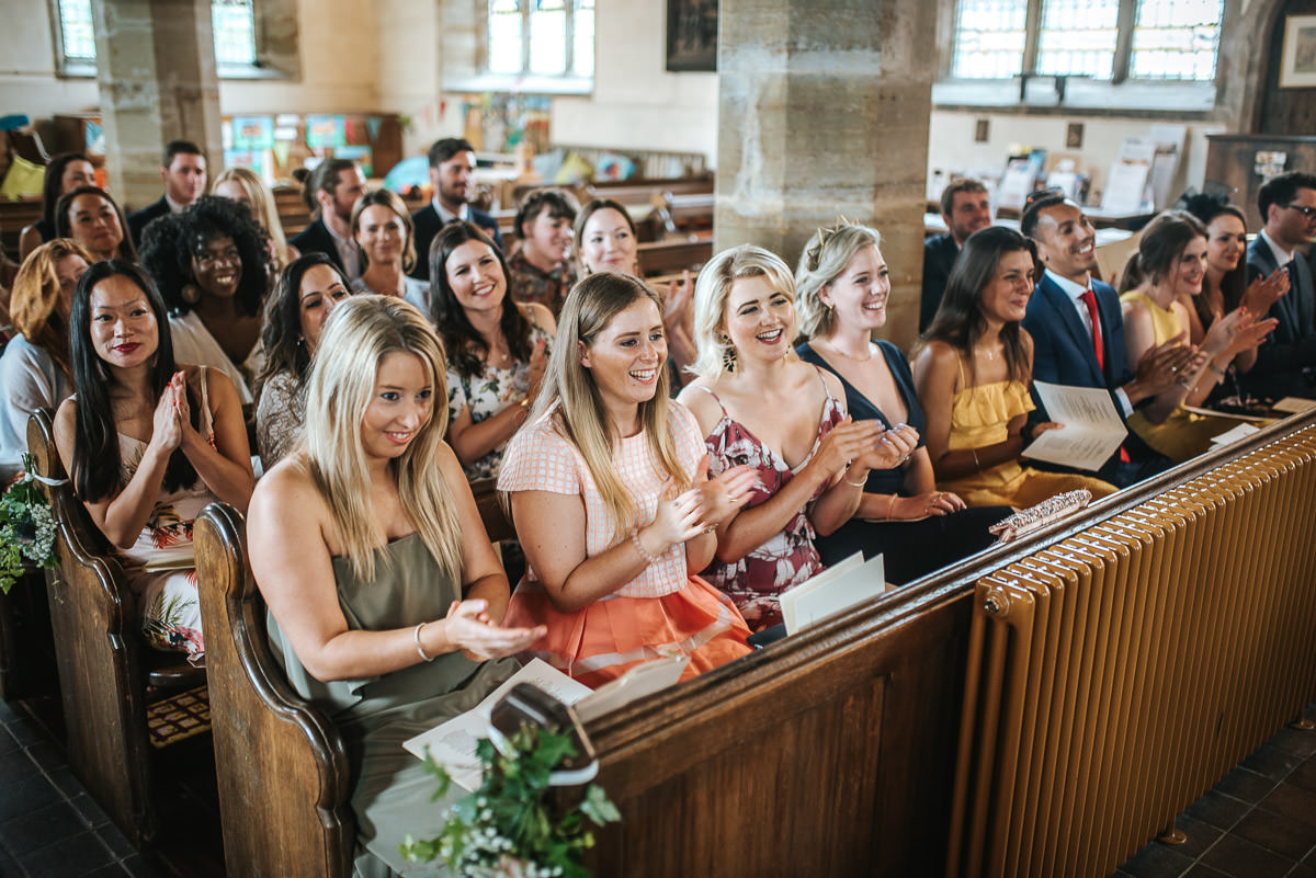 kent wedding photography guests clapping