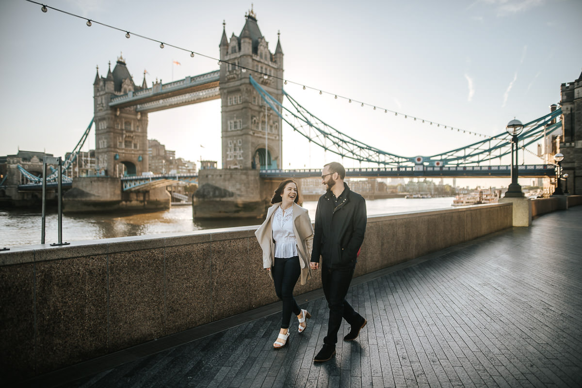 london engagement photography tower bridge and st paul's strolling by the bridge