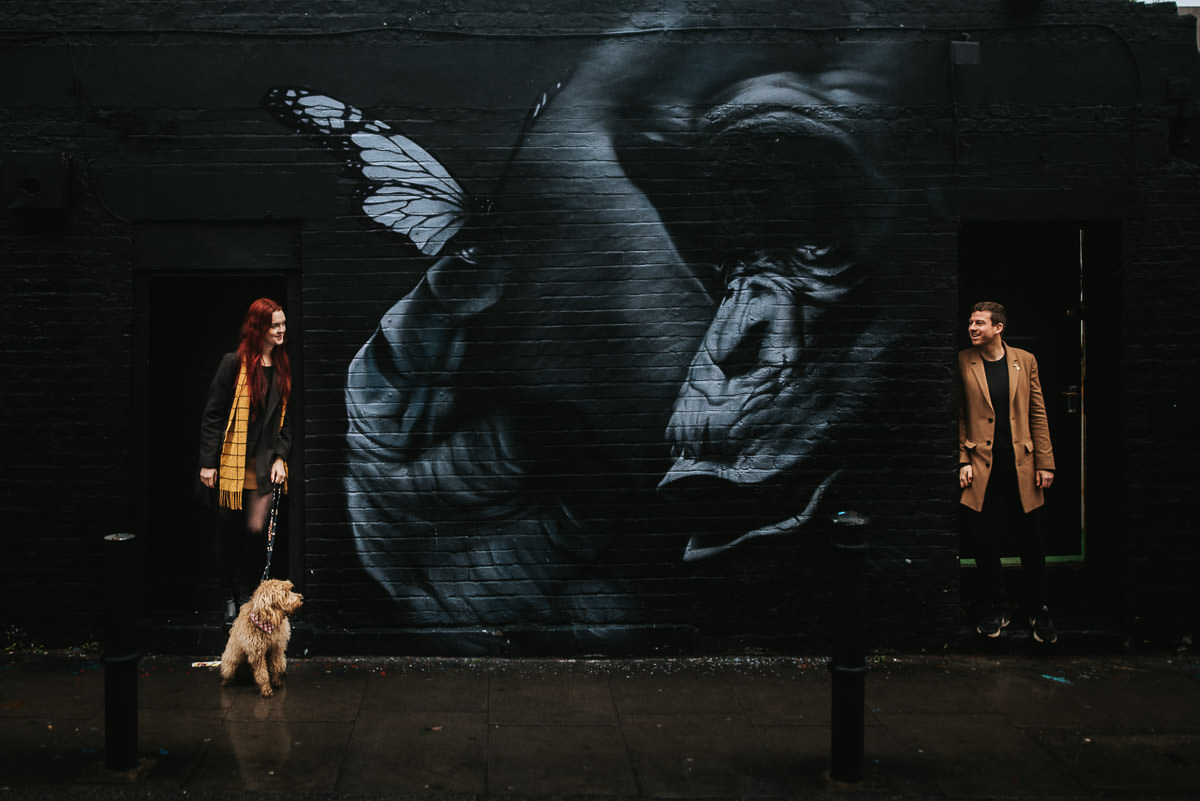 london engagement photography brick lane mural