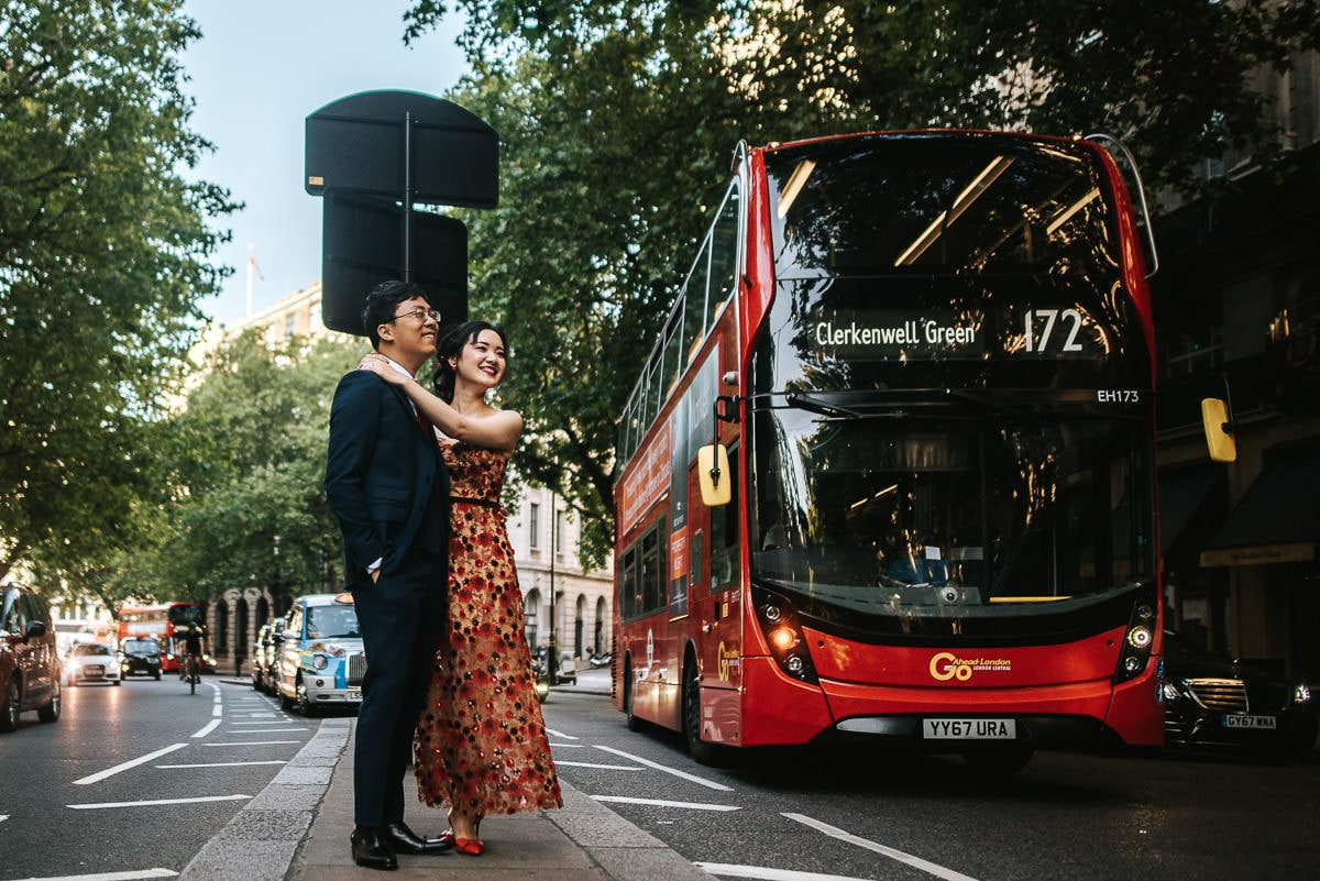 london engagement photography covent garden with red bus