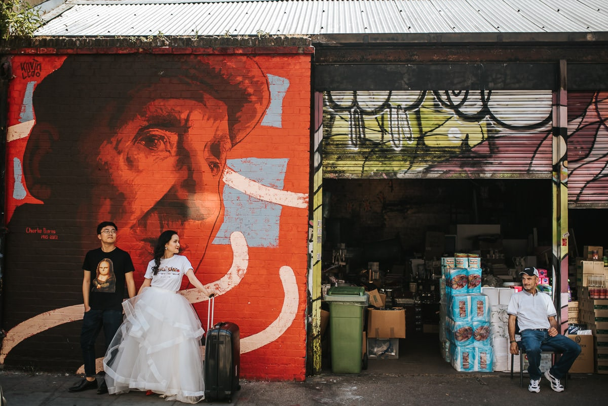 london engagement photography brick lane murals and shops