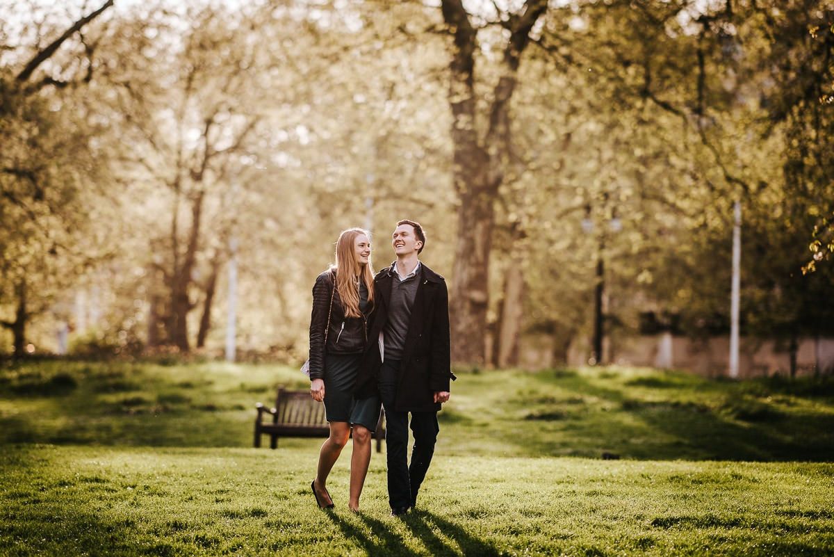 london engagement photography hyde park walking and laughing