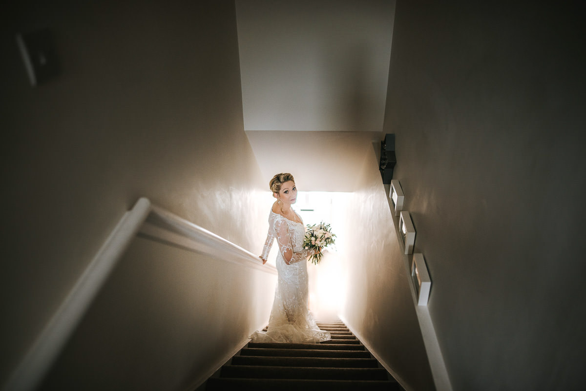 islington town hall wedding bride on the steps