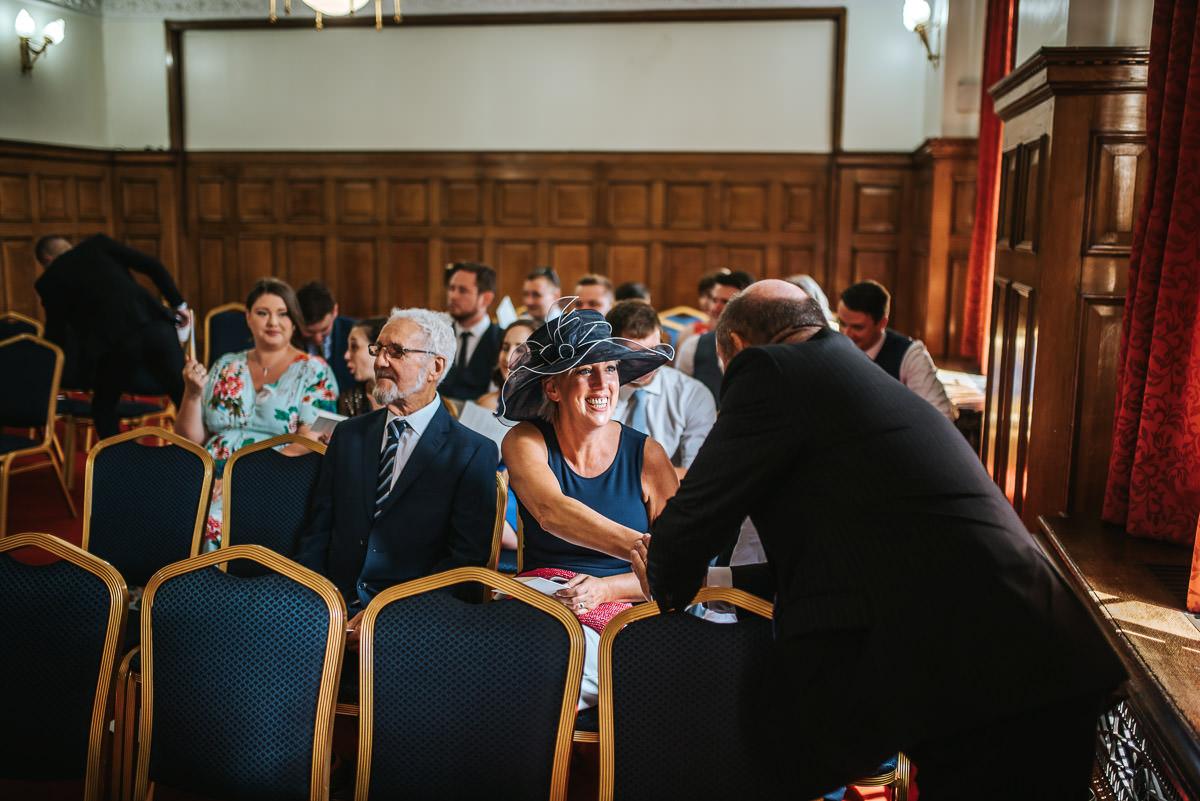 islington town hall wedding happy grooms mum