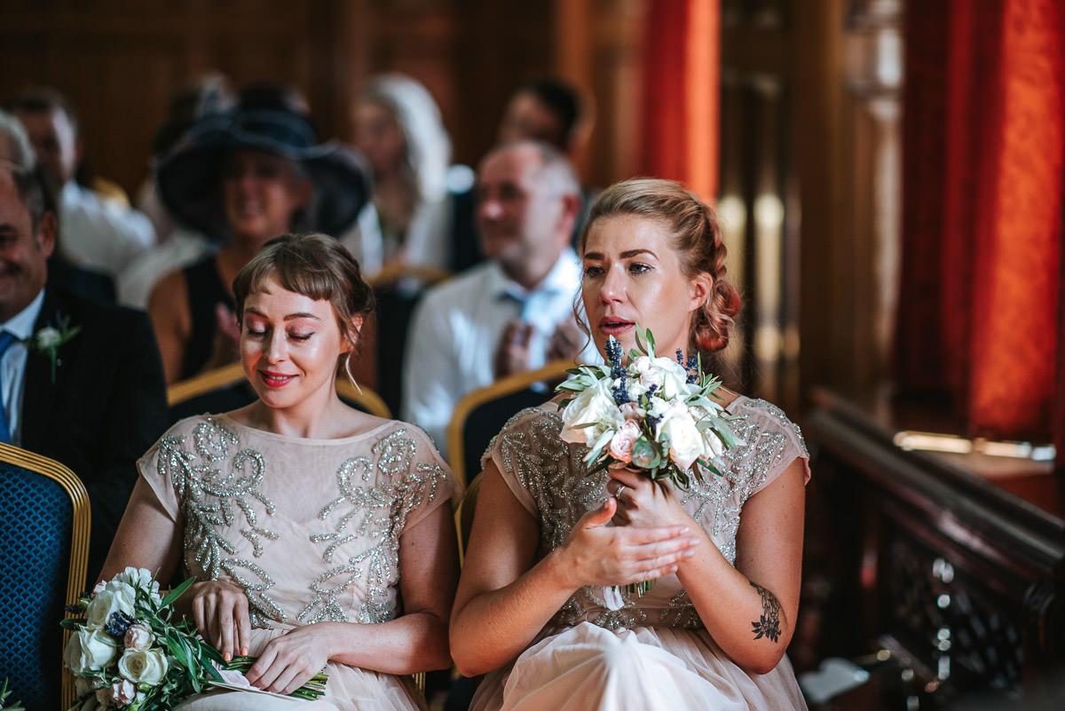 islington town hall wedding ceremony bridesmaids crying