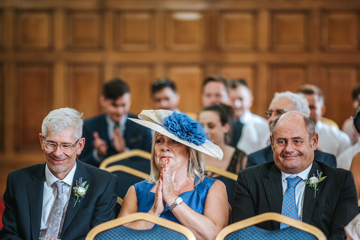 islington town hall wedding ceremony guest clapping
