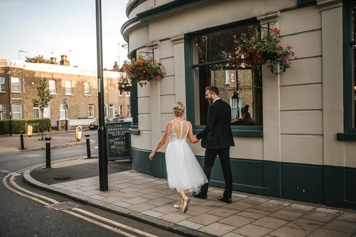 wedding brookmill pub reception afternoon couple shoot bride and groom walking hand in hand