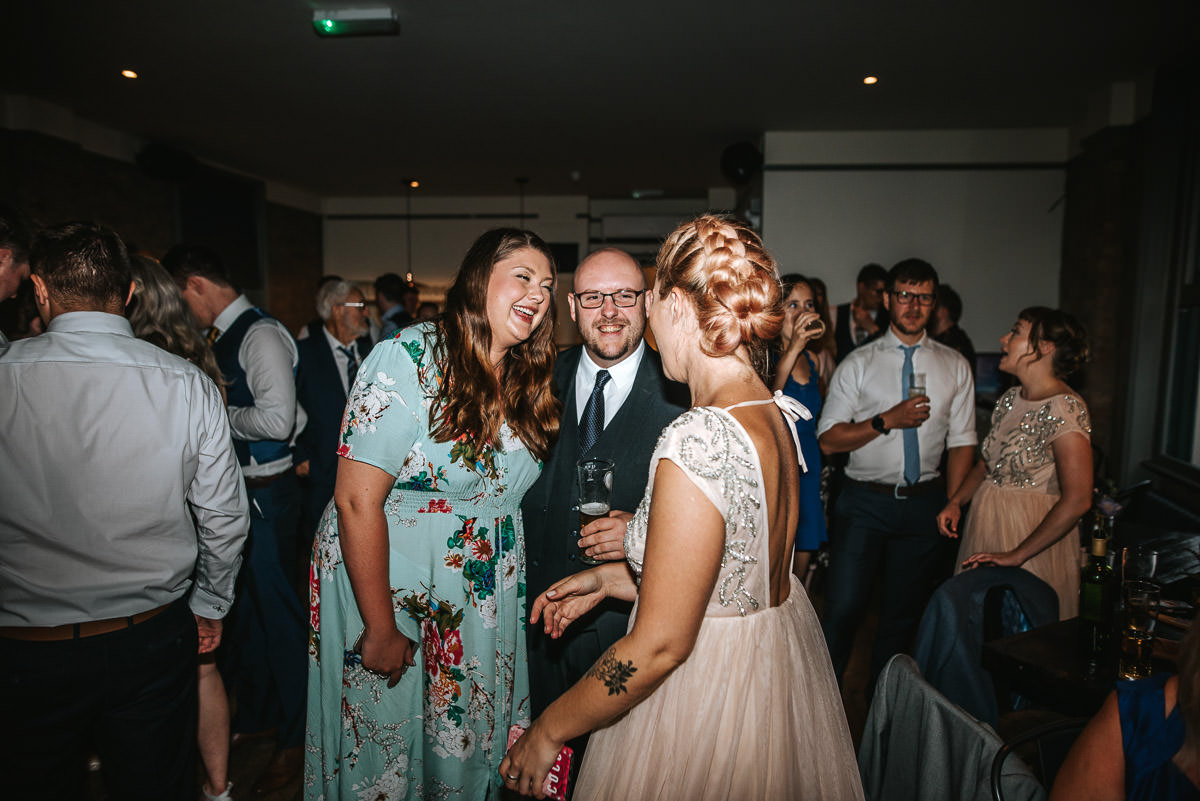 wedding brookmill pub reception guests chatting