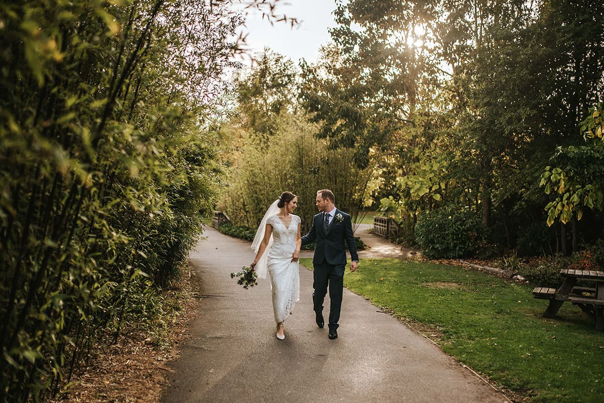 london wetland centre wedding bride and groom walking