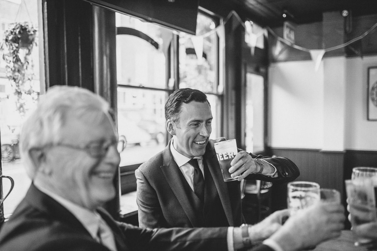 old marylebone wedding guys at the pub