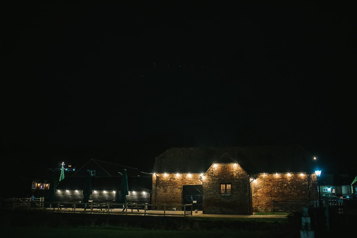 tewin bury farm wedding venue at night