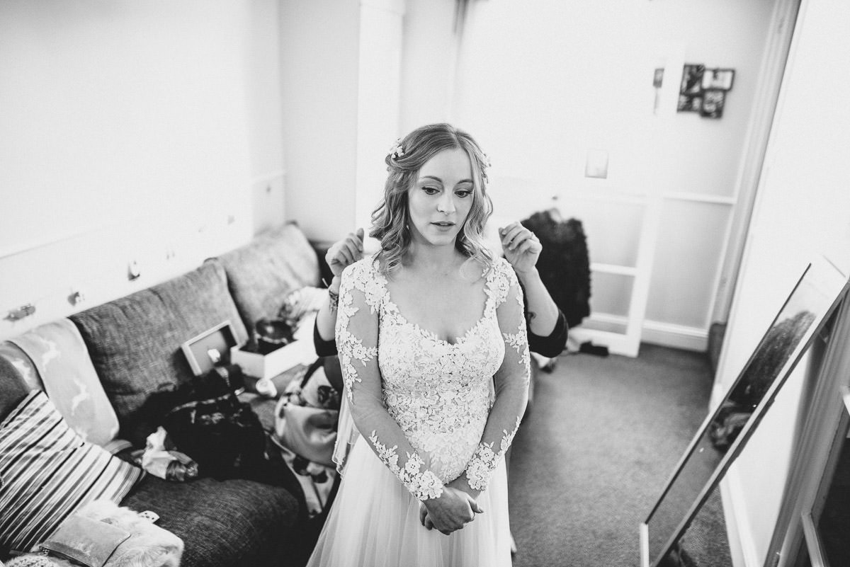 tewin bury farm wedding bride in b and w