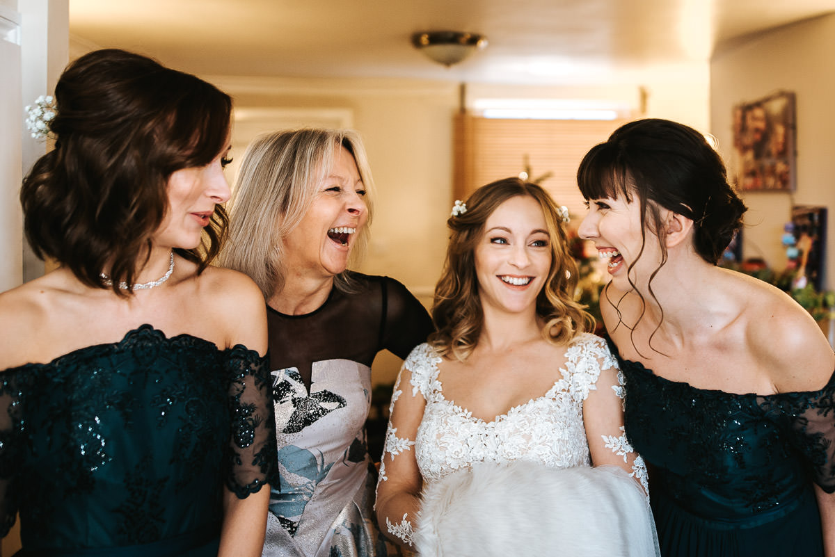 tewin bury farm wedding bride with bridesmaids