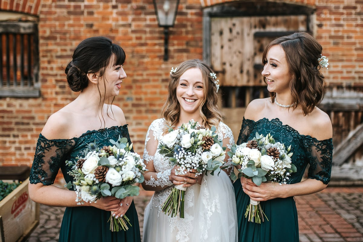 tewin bury farm wedding bride and bridesmaids