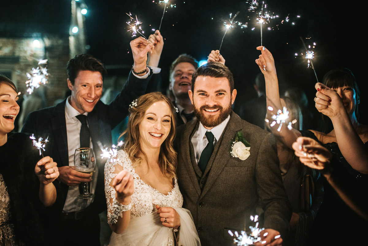 tewin bury farm wedding sparklers