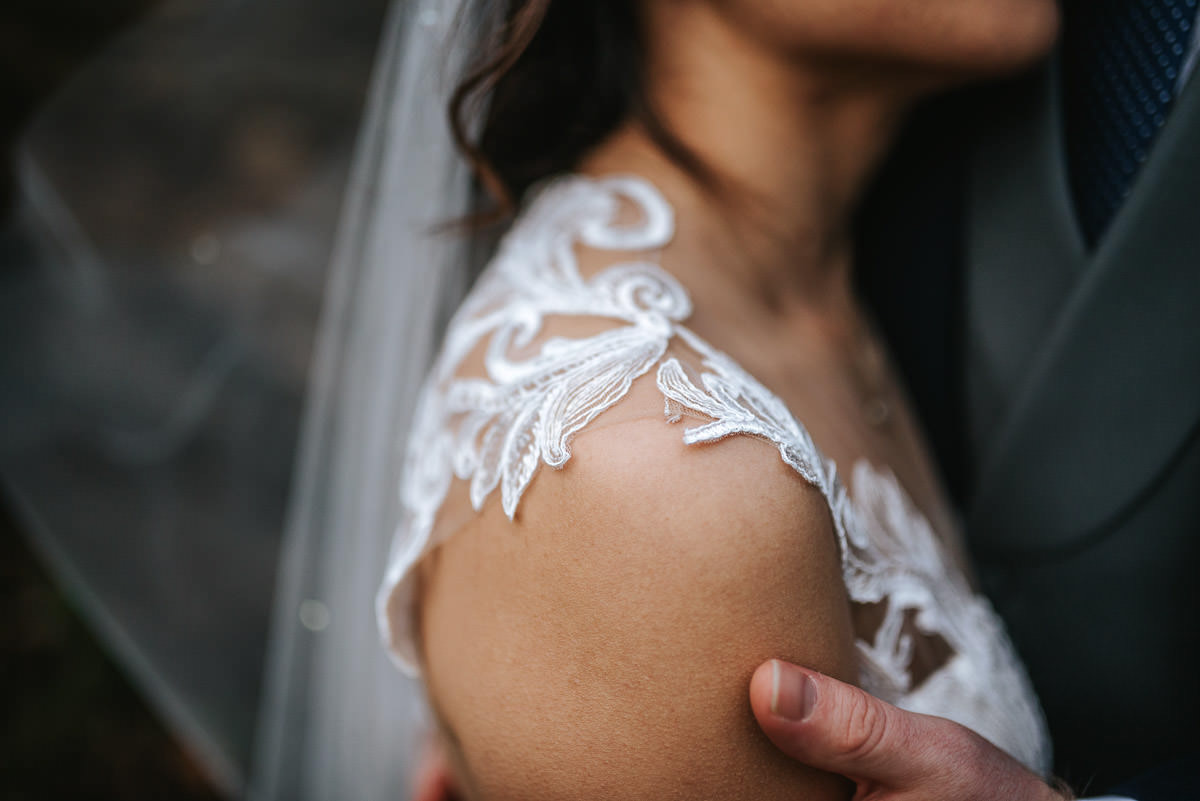 gosfield hall wedding bride and groom shoot dress detail