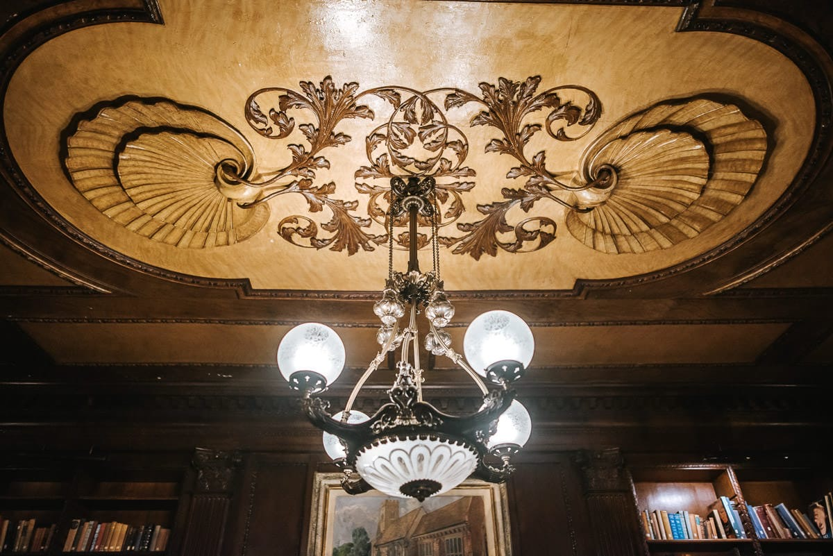 gosfield hall wedding library ceiling