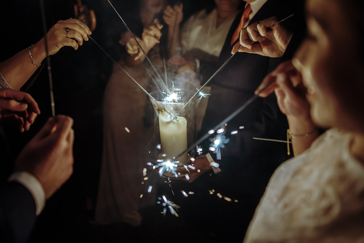 gosfield hall wedding sparklers