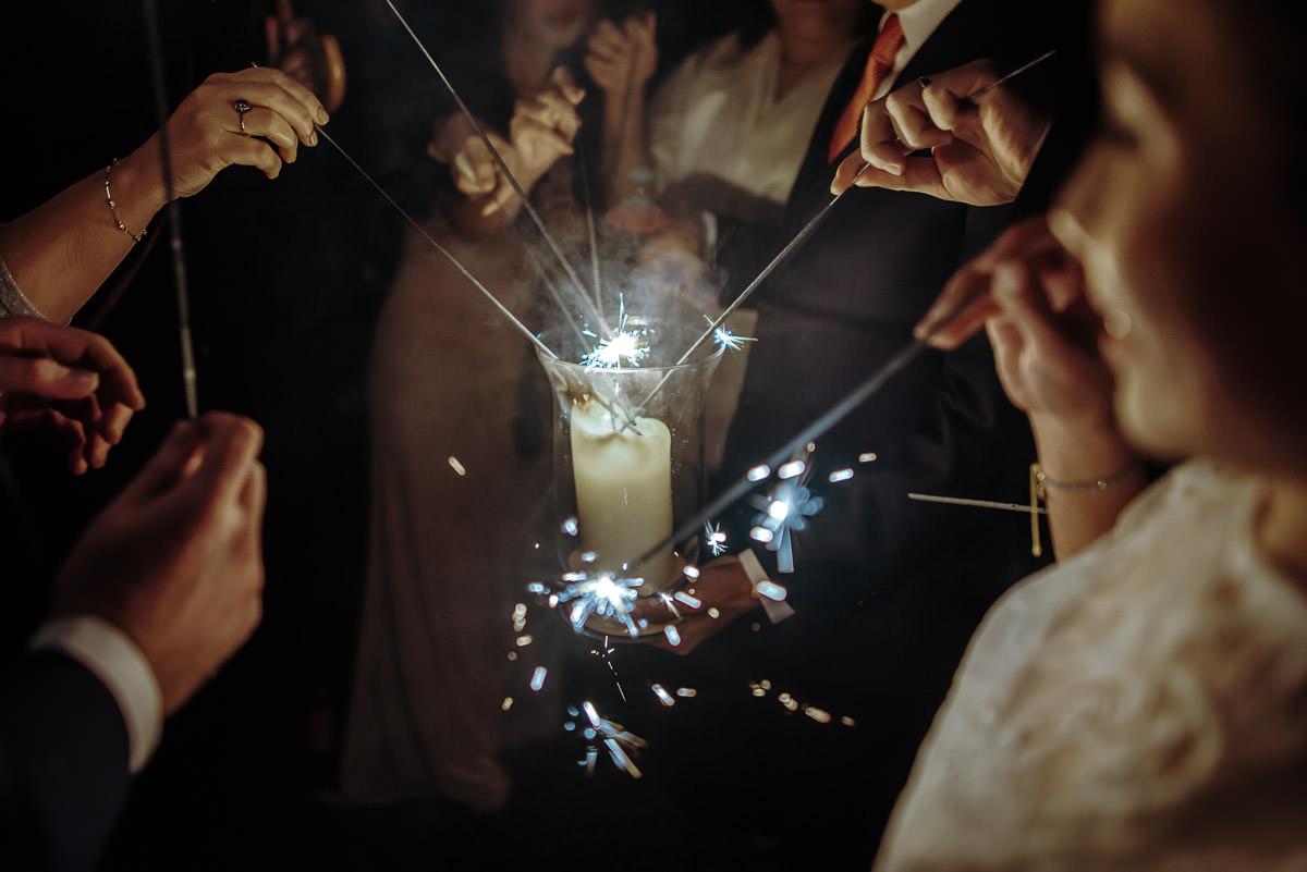 gosfield hall wedding sparklers