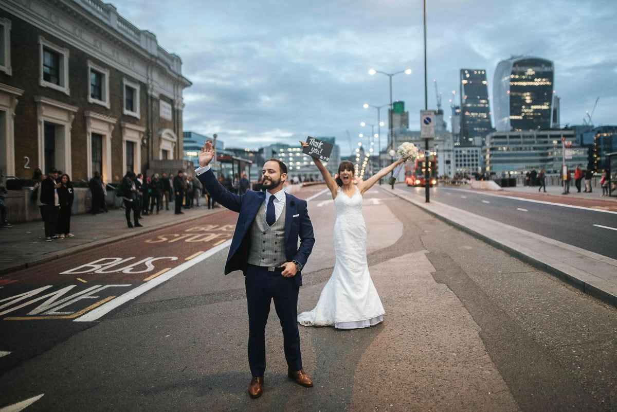 london wedding bride and groom at london bridge