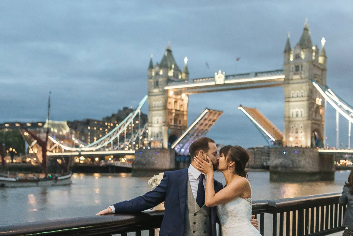 london wedding bride and groom at tower bridge opening bridge