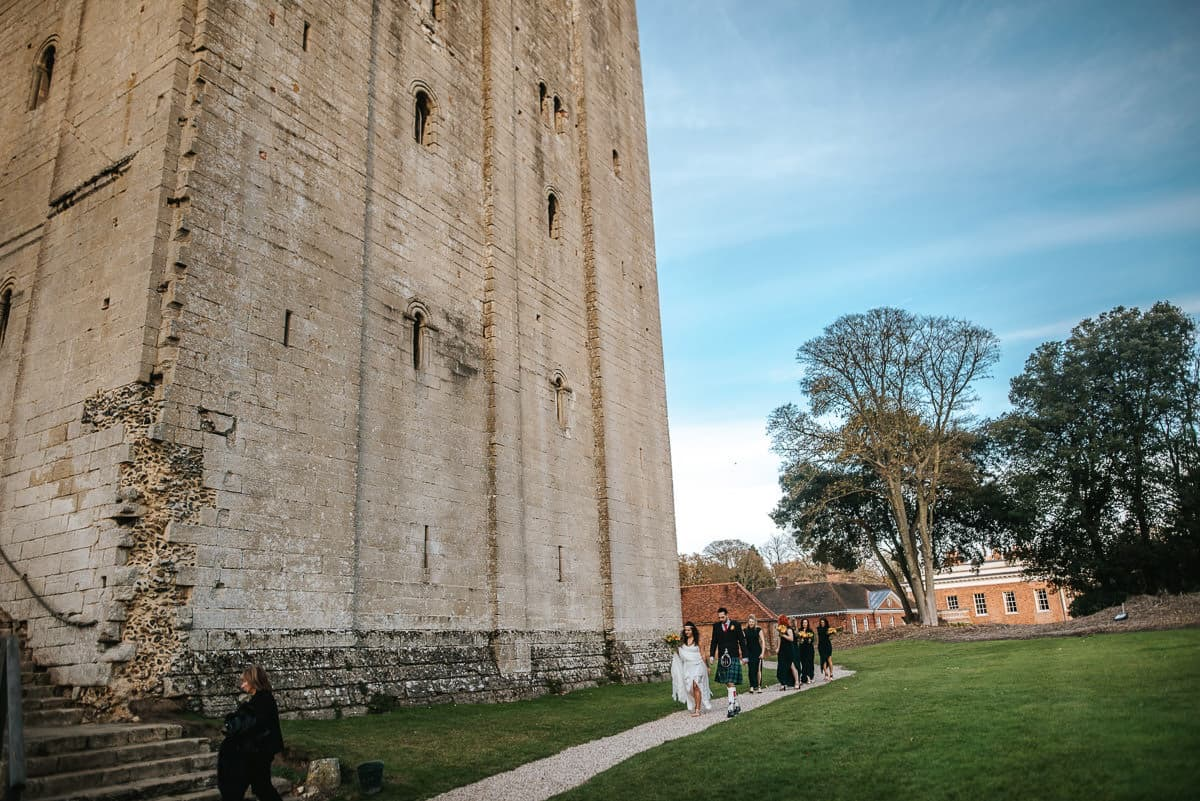 hedingham castle wedding bride waloking in