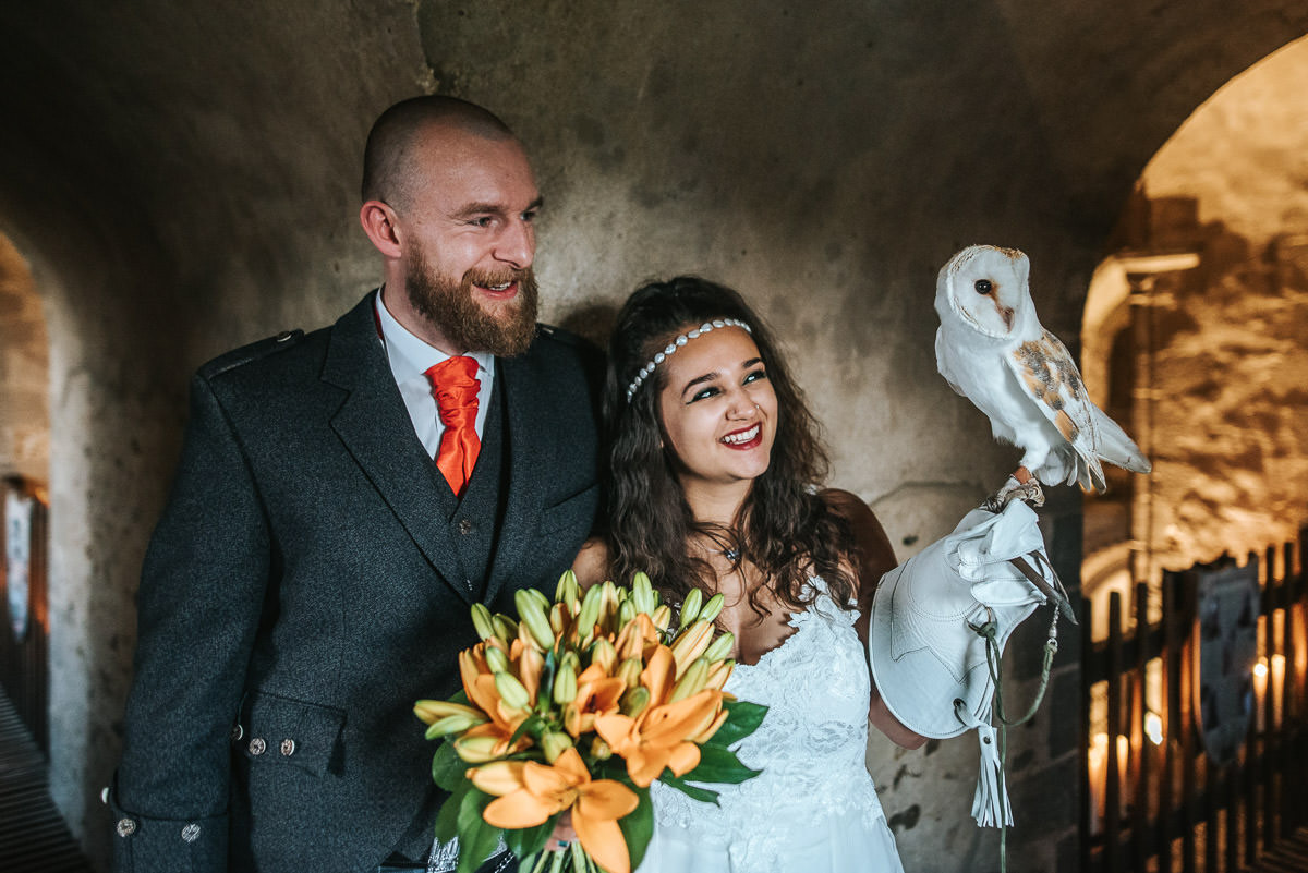 hedingham castle wedding portrait with owl
